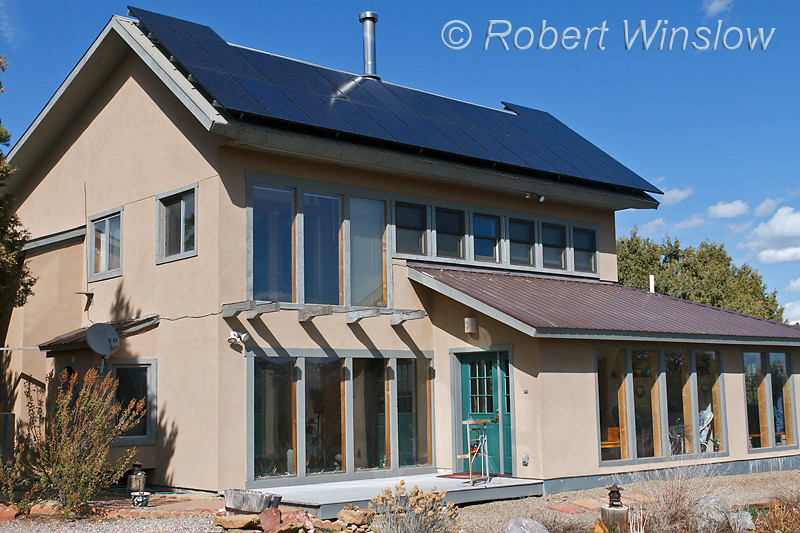 Property Released, House with 28 Photovoltaic Solar Panels on South-facing Roof, Schuco 180 W, model MPE 18- MS 05, 600VDC, Photovoltaic Solar Panels,  House is also Passive solar, Durango, La Plata County, Colorado, USA, North America