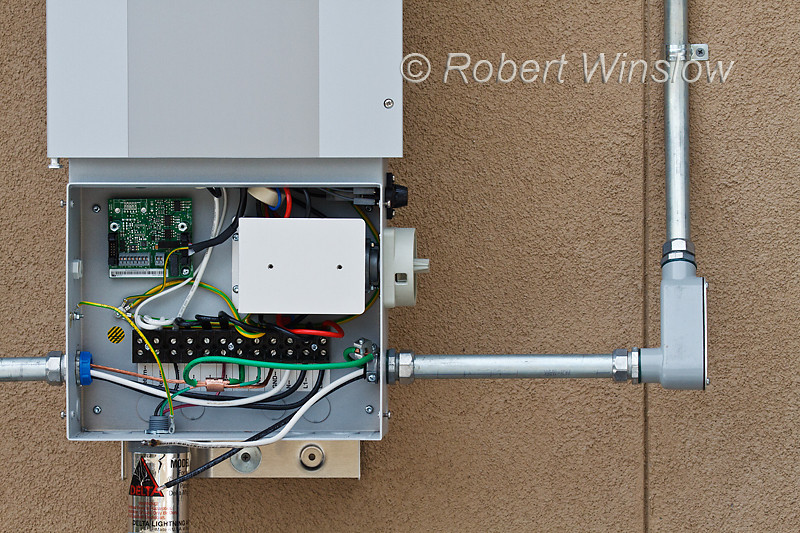 Electrical connections in the Kaco blueplanet 5002xi Grid-tied inverter installed for photovoltaic solar panels, Durango, Colorado, USA, North America