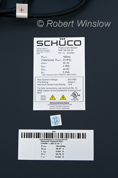 Backside of Schuco 180 W, model MPE 18- MS 05, 600VDC, Photovoltaic Solar Panel