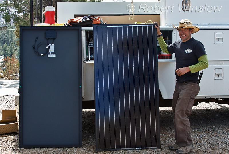 Model Relased, technician preparing Schuco 180 W, model MPE 18- MS 05, 600VDC, Solar Panels, Durango, Colorado, USA, North America