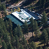 Aerial view of the UC Davis Tahoe Environmental Research Center located on the campus of Sierra Nevada College on the north shore of Lake Tahoe. The structure is a LEED Platinum building opened in 2006.