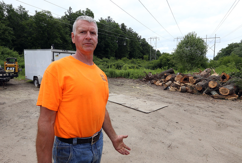 Carl Restuccia of Lowell, owner of Carl's Tree Removal Co., at his woodlot in Tewksbury. He got babesiosis from a tick bite, which he thinks he picked up at a job on Dascomb Road near Rt 93. He recommends people not let brush accumulate in piles like this, which can attract animals that carry ticks. (SUN/Julia Malakie)