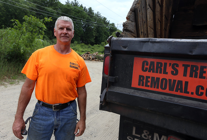 Carl Restuccia of Lowell, owner of Carl's Tree Removal Co., at his woodlot in Tewksbury. He got babesiosis from a tick bite, which he thinks he picked up at a job on Dascomb Road near Rt 93. (SUN/Julia Malakie)