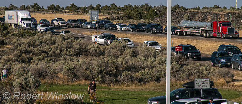 Traffic after total solar eclipse on Inerstate 15 south of Idaho Falls, Idaho