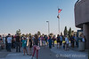 Driving home after total eclipse, Line for the bathroom at rest area south of Idaho Falls, ID on Interstate 15