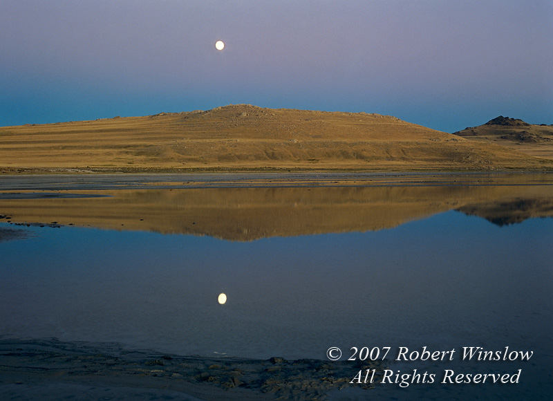 Moonrise at Sunset, Antelope Island, Great Salt Lake, Utah, North America