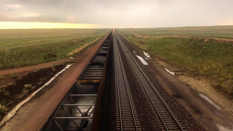 Click to play video.<br /> Bill, WY, June 2017. I found a bridge where I could watch passing coal trains from the Powder River Basin of Eastern Wyoming, North America's busiest coal region. (Edited on YouTube, so I added some music).