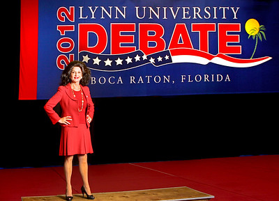 092413 - BOCA RATON - Christine Lynn photographed Monday inside of the Lynn University gymnasium. Lynn University was selected to hold the fourth U.S. Presidential Debate on Oct. 22. The University converted the gymnasium to accommodate the media during the upcoming Presidential Debate. Photo by Tim Stepien