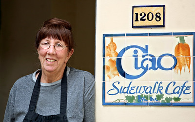 101313 - DELRAY BEACH - Diane Sloane, owner Ciao Sidewalk Cafe, Delray Beach, FL. On October 1, Ciao Sidewalk Cafe reopened for its 35th year. Photo by Tim Stepien