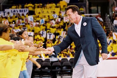 Arnold Schwartzenegger campaigning