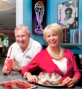 100615 - DELRAY BEACH - Bob and Ellie Smela photographed Tuesday afternoon at Ellies 50's Diner in Delray Beach. Bob Smela is the owner of Ellies 50's Diner and it is named after his wife Ellie.  Photo by Tim Stepien