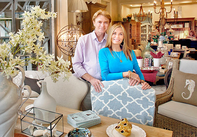 082715 - DELRAY BEACH - Gulf Stream residents Bernard and Stephanie Molyneux photographed Thursday morning at their ACP Home Interiors/Antiques & Country Pine boutique on Federal Highway in Delray Beach. Bernard and Stephanie plan to expand their ACP business by opening a new 8,000-square-foot store in Boca Raton on Oct. 1 at 850 N. Dixie Highway, Boca Raton.  Photo by Tim Stepien