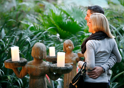 "011914 - OCEAN RIDGE - Chris Wurster and his fiance Abby Smith,  pose for a photo in the ""Midnight in the Garden of Good and Evil"" area of Barbara and Stan Cooks' garden. Barbara and Stan Cook opened their home and garden to The American Associaiton of University  Women event, a fundraiser to promote STEM programs for middle-school girls. Photo by Tim Stepien"