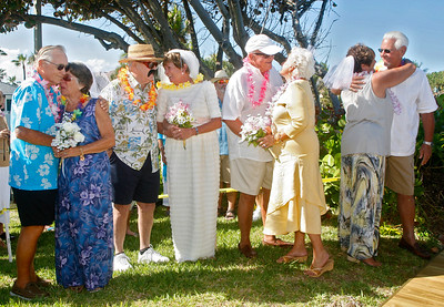 "030914 - OCEAN RIDGE - On March 9 at 4 pm, four couples who live in Colonial Ridge Club in Ocean Ridge celebrated their 50th wedding anniversaries at a ceremony at the condo's gazebo on the beach. They billed the event as ""200 years of love.""  Pictured left to right,  John and Bea Fearon, Mary Lou and Steve Cousley, Marie and David Vladka, and Bob and Jeri Bove. Photo by Tim Stepien"