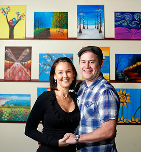 011714 - DELRAY BEACH - Matt and Traci Woodall of  Vino Van Gogh, 153 NE 4th Ave, Delray Beach, FL 33483.  Vino Van Gogh is Delray Beach's newest hot spot for art and entertainment. Bring your friends, have some laughs, enjoy a glass of wine or beer, and follow step-by-step instructions from our instructor to recreate a featured painting. 561) 272-5272. Photo by Tim Stepien