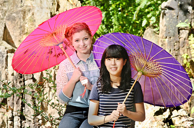 111712 - DELRAY BEACH - Phoebe Weiner, 16, and Hinako Fujita photographed Saturday at the Morikami Museum in Delray Beach.  Hinako lived with the Weiner family in Highland Beach while participating in a foreign exchange program.  Hinako is from the same town as George Morikami, Miyazu, Japan.  Photo by Tim Stepien