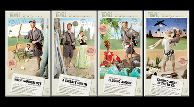 2005 Florida Travel Section Pages.  From left, page 1,  Bruce Linser, barefoot mailman and model Tessa McCue for east coast travel section; page 2, Bruce Linser, barefoot mailman and model Autumn Horne, for central Florida travel section; page 3, Bruce Linser, barefoot mailman and model Carolina Arganaraz for Miami travel section; page 4, Bruce Linser, barefoot mailman being carried by podiatrist John Guidy for keys travel section. staff photos by tim stepien