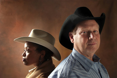 022406 - STUDIO - Leslie Streeter and Hap Erstein for our annual Oscar photo shoot.  Hap and Leslie, dressed like cowboys, a'la Brokeback Mountain.  photo by tim stepien/the palm beach post