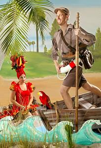 041605 - Bruce Linser, barefoot mailman and model Carolina Arganaraz for Miami travel section. Staff photo by Tim Stepien