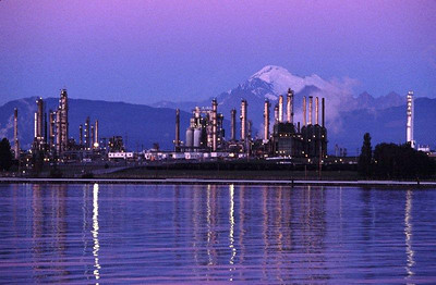 View east to Mt. Baker and the oil refinery at Marche Point, Anacortes, WA on Sep. 28, 2004