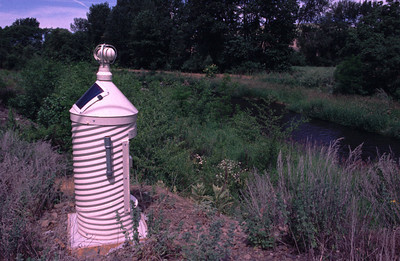 Solar powered stream gage on a river in eastern WA.