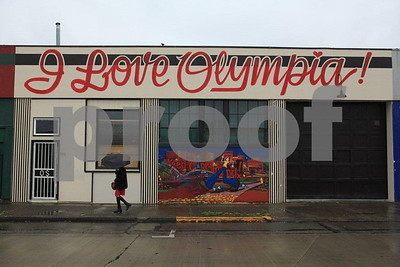"""I Love Olympia"" store front."