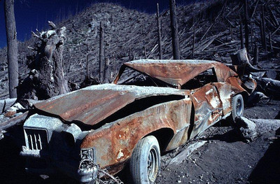 Pontiac sedan crushed and burned in the May 18, 1980 eruption of Mount St. Helens, taken on September 16, 1980.