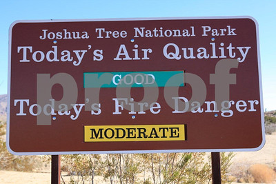 Joshua NP air quality 9555: A sign at the Cottonwood Springs Visitor Center in the Joshua Tree National Park, CA posts the air quality and fire danger ratings in Jan. 2011.