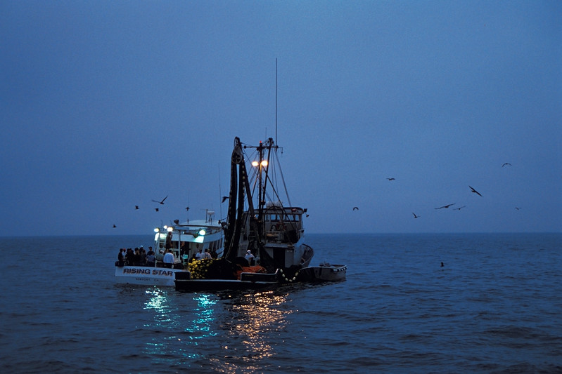 """A sport fishing """"cattle boat"""" procures bait from a commercial fishing boat prior to their days fishing in the early morning, Newport, California ( Eastern Pacific)"""