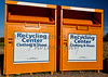 Recycling center collection bins for clothing disposal industry
