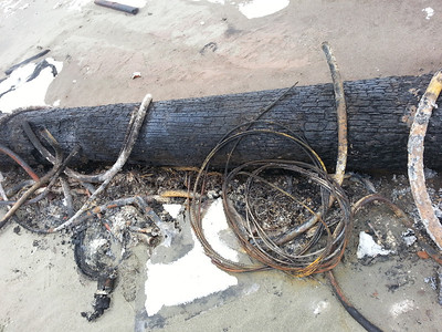 A burned telephone pole maybe? With hydraulic lines, coils, filters...all burned and smelling of creosote and oil.