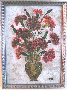 Carnations Susan Veronica Keating reverse glass / tinsel painting. Property of Veronica Szymanski, Chalfont, PA.