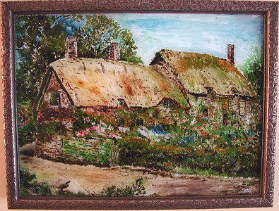 Cottage Susan Veronica Keating reverse glass / tinsel painting. Property of Veronica Szymanski, Chalfont, PA.