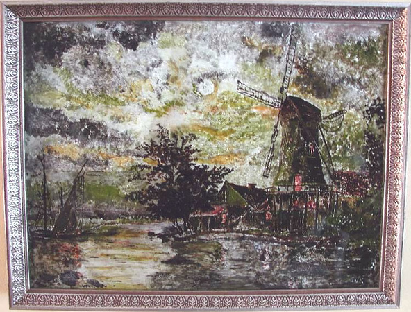 Windmill Susan Veronica Keating reverse glass / tinsel painting. Property of Veronica Szymanski, Chalfont, PA.