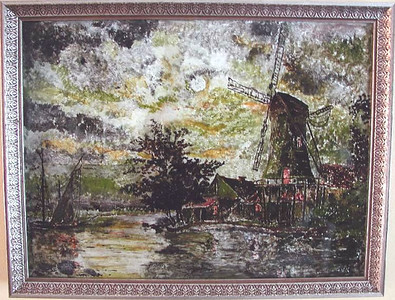 Windmill Susan Veronica Keating reverse glass / tinsel painting. Property of Veronica Szymanski, Chalfont, PA.