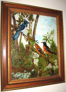 Birds Susan Veronica Keating reverse glass / tinsel painting. Property of Mary Petersack, Port St. Joe, FL.