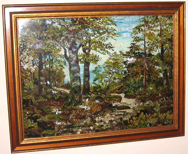 Landscape with Brook Susan Veronica Keating reverse glass / tinsel painting. Property of Mary Petersack, Port St. Joe, FL.