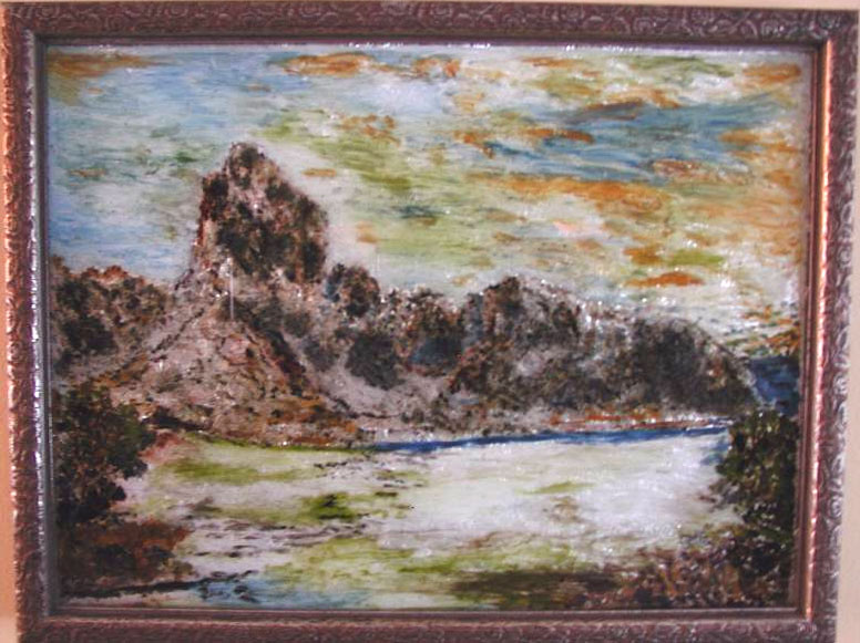 Rocky Landscape Susan Veronica Keating reverse glass / tinsel painting. Property of Veronica Szymanski, Chalfont, PA.