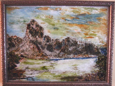 Rocky Landscape Susan Veronica Keating reverse glass / tinsel painting. Property of Veronica Szymanski, Chalfont, PA.