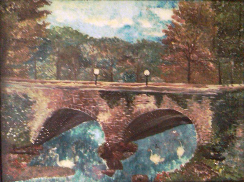 Bridge with Swans Susan Veronica Keating reverse glass / tinsel painting. Property of the Golaszewski family, Cape May Courthouse, NJ. (Courtesy of Steve Golaszewski)