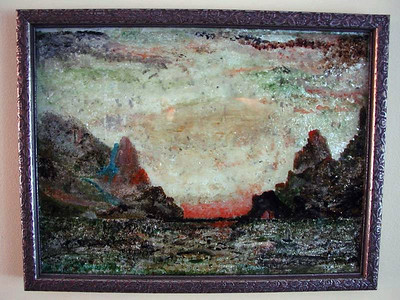 Sunset Over Water Susan Veronica Keating reverse glass / tinsel painting. Property of Veronica Szymanski, Chalfont, PA.