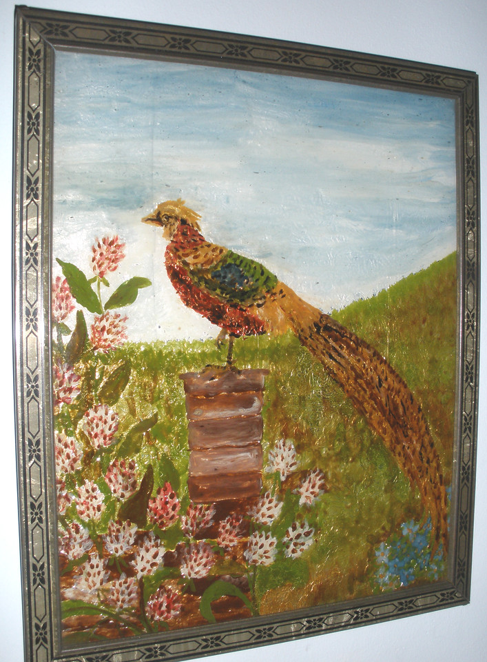 1932 Pheasant with Clover Susan Veronica Keating reverse glass / tinsel painting. Property of Jane Bruton, Wilmington, DE. (Courtesy of Gotsch / Bruton)