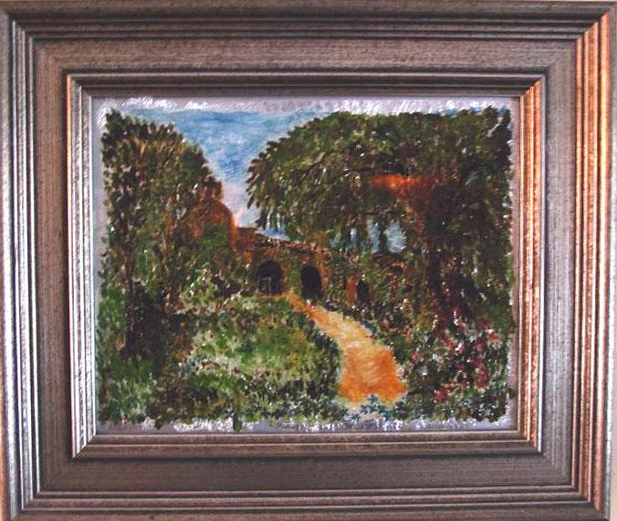 Cottage Path Susan Veronica Keating reverse glass / tinsel painting. Property of Veronica Szymanski, Chalfont, PA.