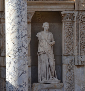 Statue in front of Celsus Library, Ephesus.