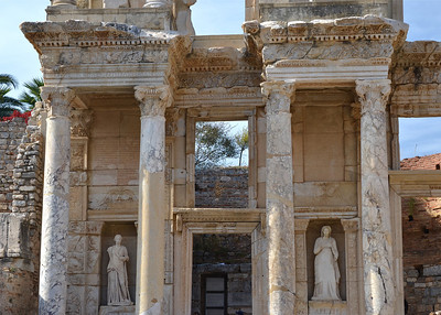 Statues in the front of Celsus Library, Ephesus.