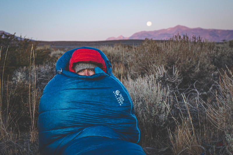 Dan waking up after a cold night in the bushes off highway 395