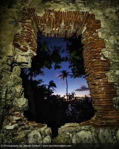 Sunset through the ruins of Faro de Punta Borinquen