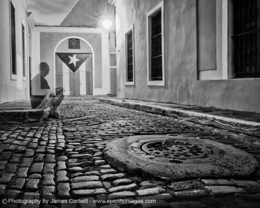 OK. Trying this one in black and white. Experimenting in Old San Juan. Long exposure with the photographer making an appearance.