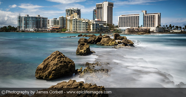 How about this long exposure shot across the Condado Lagoon and Atlantic Ocean towards the @PaseoCaribe, Fortín San Gerónimo de Boquerón of the @SanJuanNPS, and the Caribe @HiltonHotels?