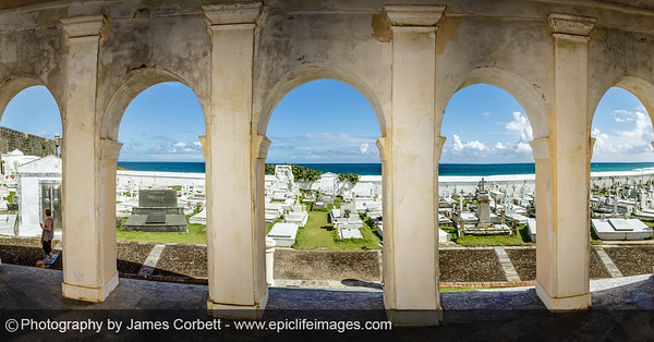 Can't resist one more panorama from my time contemplating the view from the chapel at Santa María Magdalena de Pazzis Cemetery. A glimpse of the wall of El Morro to the left and the expanse of ocean in the distance.
